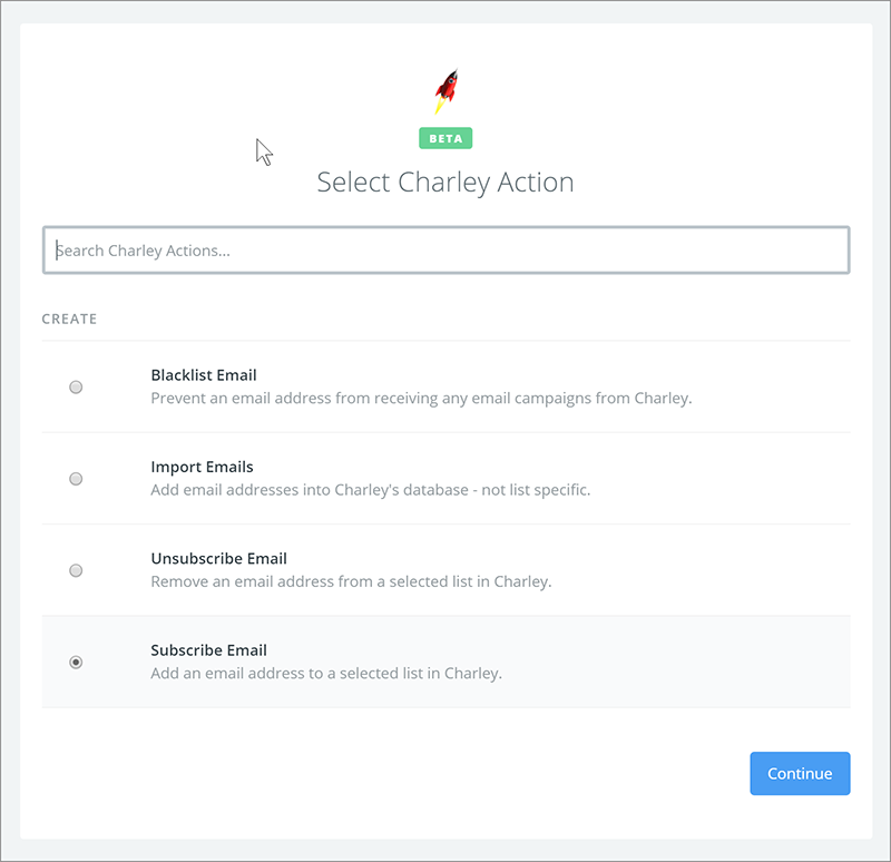 Configure Charley Action