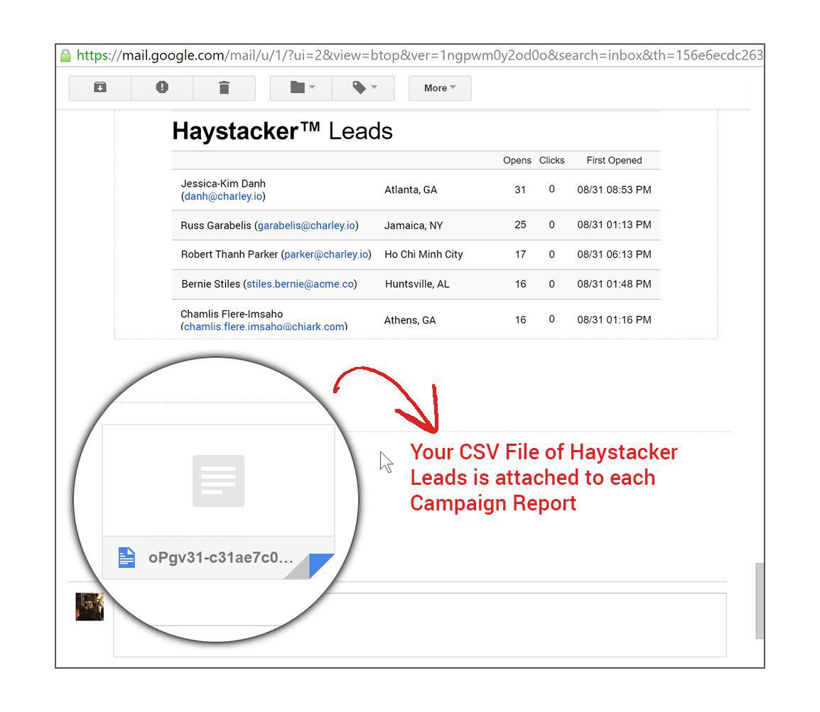 CSV file of hastacker leads